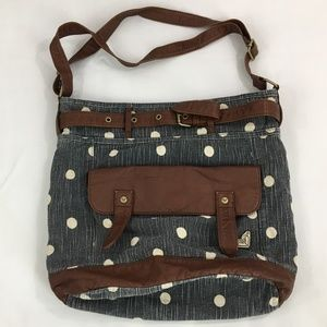 Roxy Shoulder Bag Denim With Vegan Leather Trim